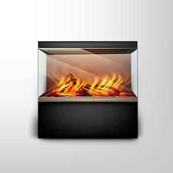 Acuario con chimenea electrónica moderna con un fuego ardiente para el diseño de interiores en estilo hitech