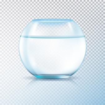 El acuario de la pecera del tanque de vidrio de las paredes redondas se llenó de ilustración transparente del vector del fondo de la imagen realista del agua clara
