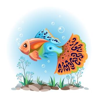 Acuario de peces. poecilia reticulata.