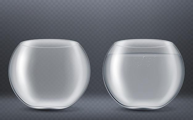 Acuario redondo de vidrio vacío y lleno de agua