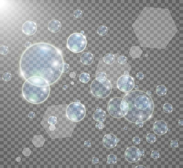 Acuario sobre un fondo transparente. ilustración de burbujas realistas.