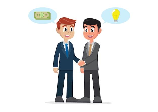 Acuerdo de apretón de manos de empresario entre ideas y dinero.