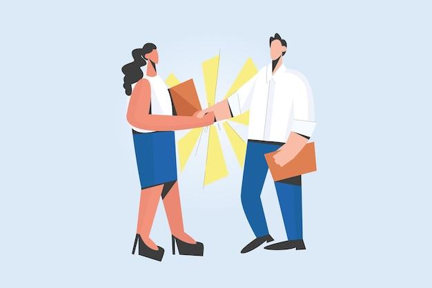 Acuerdo de cierre de apretón de manos de diversas personas después de la entrevista