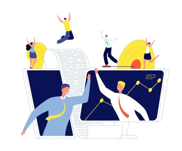 Acuerdo comercial en línea. inversores de inicio, acuerdo de conclusión y asociación. apretón de manos de hombre, nueva ilustración de vector de tecnología de trabajo en equipo. acuerdo comercial en línea, contrato de trato por internet
