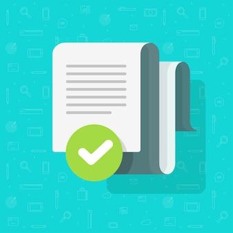 Acuerdo de documento y marca de verificación verificada, archivo de texto aprobado marca de verificación tick cartoon