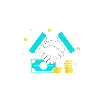 Acuerdo financiero, la inversión, apretón de manos, los hombres de negocios la cooperación, el trabajo de colaboración línea plana ilustración diseño