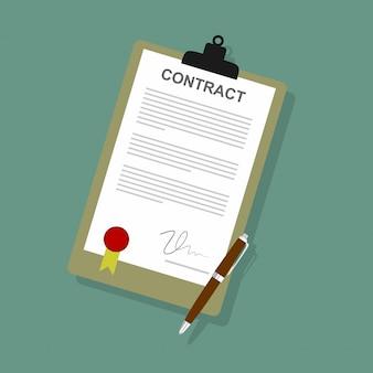 Acuerdo de icono de contrato de papel firmado.