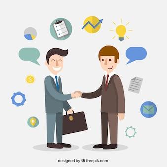 Acuerdo de negocios de dibujos animados