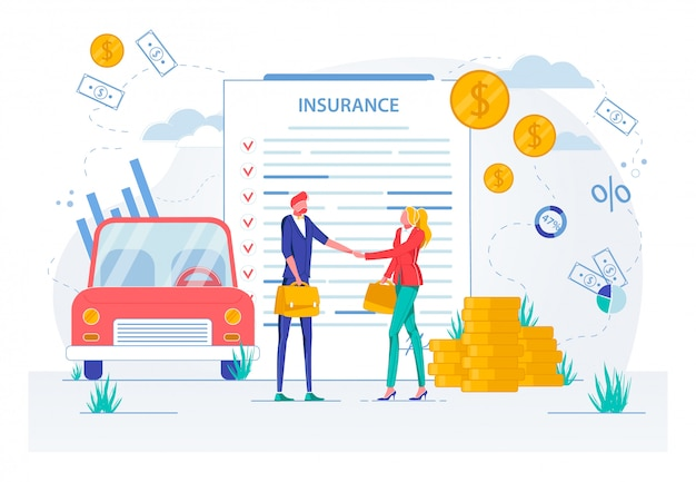 Acuerdo de seguro de automóvil y firma de contrato