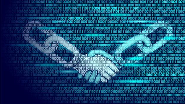 Acuerdo de tecnología blockchain apretón de manos concepto de negocio bajo poli,