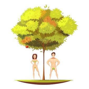 Adán y la víspera en el árbol de manzana de anden garden ander con fruta prohibida del conocimiento, ilustración vectorial de dibujos animados