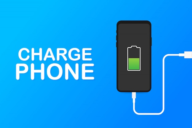 Adaptador de cargador de teléfono inteligente y toma de corriente, notificación de batería baja. ilustración.
