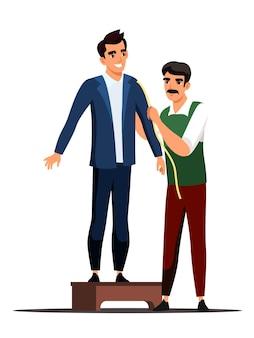 Adapte al cliente de medición para hacer un maestro de costura de trajes personalizados tomando la medida con cinta del cliente