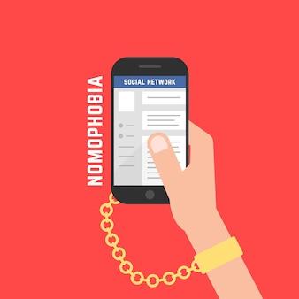 Adicción al gadget con teléfono celular. concepto de dependencia, vínculo, metáfora obsesionada, afición, riesgo, dispositivo, encarcelamiento, delito, charlar. diseño gráfico de logotipo moderno de tendencia de estilo plano sobre fondo rojo