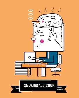 Adicción al tabaquismo. la nicotina es una enfermedad mental. diseño fino de la línea fina del carácter. ilustración vectorial