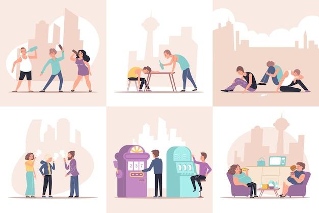 Adicción conjunto de composiciones planas con personajes humanos de personas adictas con objetos e ilustración de paisaje urbano