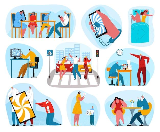 Adicción a los teléfonos digitales. personas adictas a las redes sociales en el teléfono móvil. joven