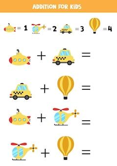Adición con diferentes medios de transporte. juego educativo de matemáticas para niños.
