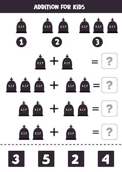 Adición con lápida de halloween rip. juego educativo de matemáticas para niños.