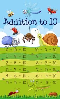 Una adición de matemáticas a 10 lecciones