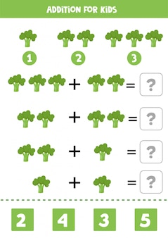 Adición para niños con brócoli verde de dibujos animados. juego educativo de matemáticas.