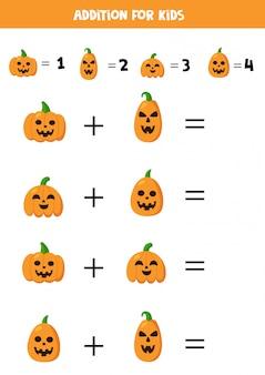 Adición para niños con espeluznantes calabazas de halloween.