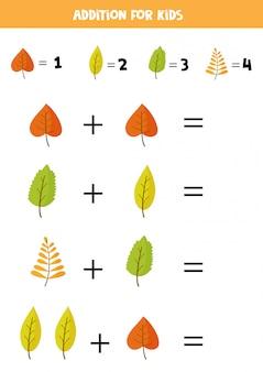 Adición para niños con lindas hojas de otoño.