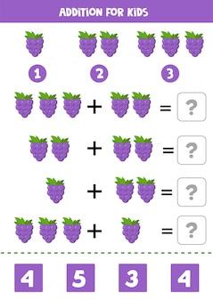 Adición para niños con lindas uvas de dibujos animados