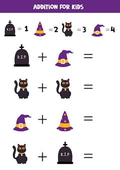 Adición para niños con lindos elementos de halloween.