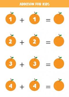 Adición para niños con naranjas.