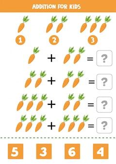 Adición para niños con zanahoria de dibujos animados. juego educativo de matemáticas.