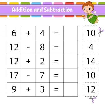 Adición y sustracción. tarea para niños. cortar y pegar. hoja de trabajo de desarrollo educativo.