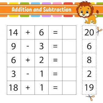 Adición y sustracción. tarea para niños. hoja de trabajo de desarrollo educativo. página de actividades.