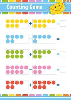 Adición y sustracción. tarea para niños. hoja de trabajo de desarrollo educativo. página de color de actividad. juego para niños.