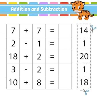 Adición y sustracción. tarea para niños. hoja de trabajo de desarrollo educativo