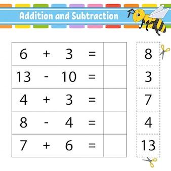 Adición y sustracción. tarea para niños. hoja de trabajo de desarrollo educativo.