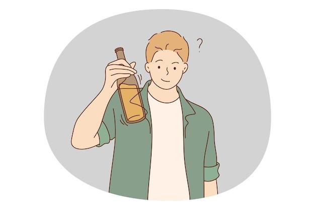 Adictos al alcohol, bebidas espirituosas, bebiendo concepto solitario.