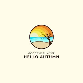 Adiós verano hola otoño logo con concepto de playa y árbol