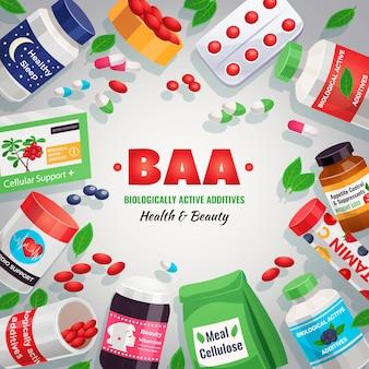 Aditivos activos biológicos encuadre de plantilla colorida de blister y frascos con medicamentos para ilustración de salud y belleza