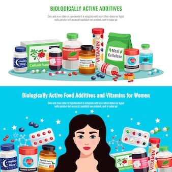Aditivos alimentarios biológicamente activos y vitaminas para mujeres salud y belleza pancartas horizontales de dibujos animados