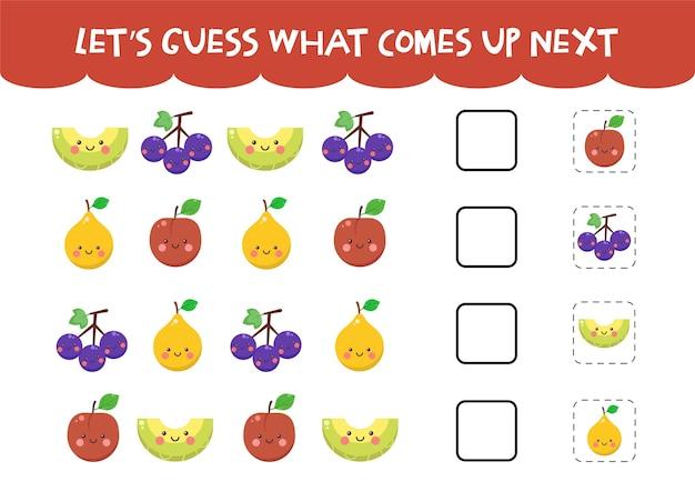 Adivina cuál es el próximo juego con lindas frutas de colores