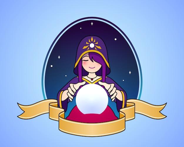 Adivino de mujer con ilustración de símbolo de dibujos animados lindo de bola de cristal.