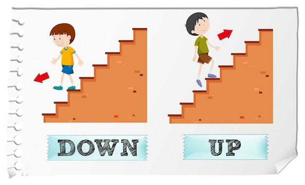 Adjetivos opuestos hacia abajo y hacia arriba