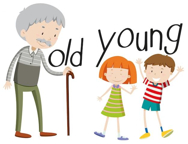 Adjetivos opuestos viejos y jóvenes