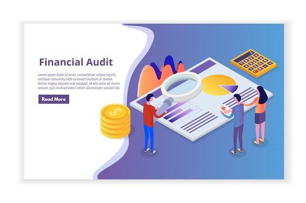 Administración financiera, examinador, auditoría isométrica concepto con personajes. impuesto de sociedades y cuenta.