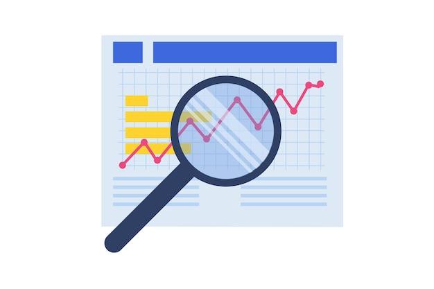 Administración financiera, examinador, concepto de auditoría. impuesto de empresa y cuenta. ilustración vectorial