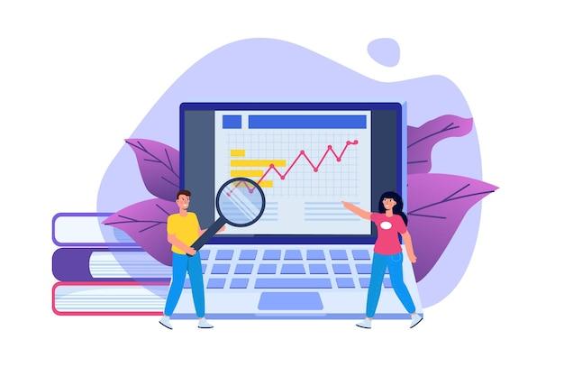 Administración financiera, examinador, concepto de auditoría con personajes. impuesto de empresa y cuenta. ilustración vectorial