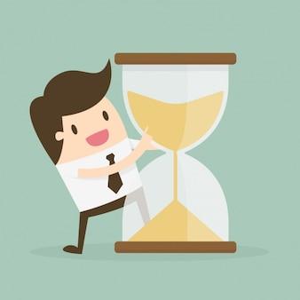 Administración del tiempo con reloj de arena y trabajador