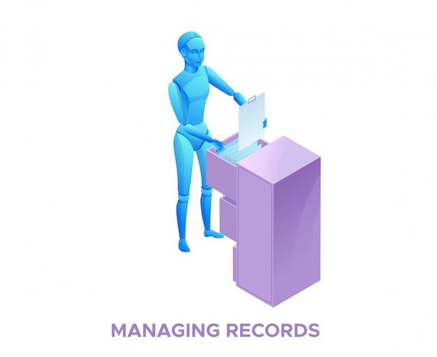 Administrador de robot con archivador