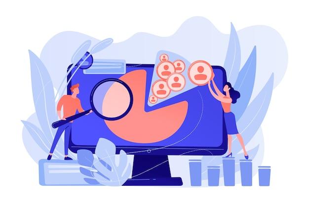 Los administradores de redes sociales trabajan con plataformas y perfiles de redes sociales. gestión de redes sociales, estrategia smm de la empresa, concepto de herramienta de marketing digital. ilustración aislada de bluevector coral rosado